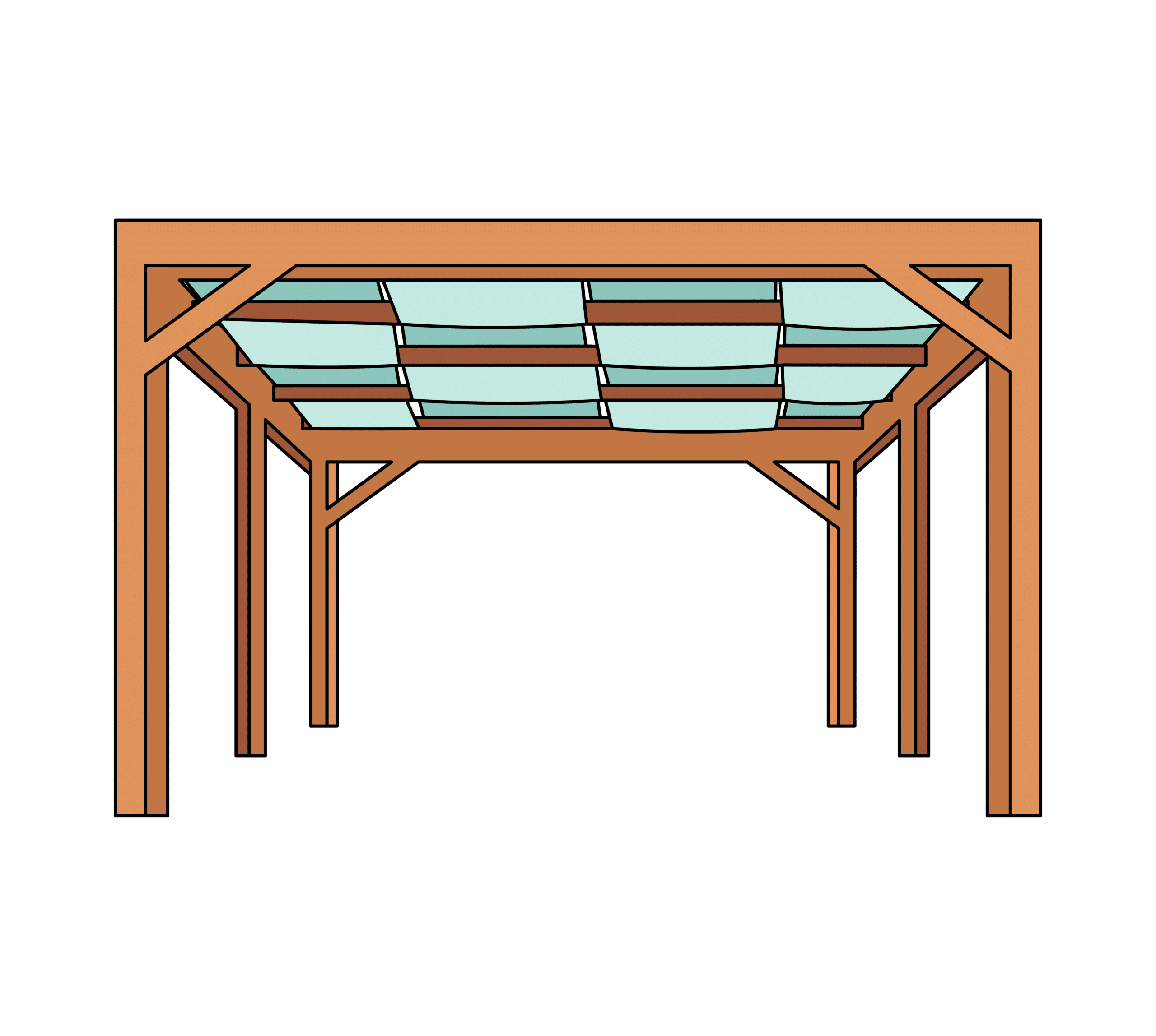 Cloth roof pergola illustration