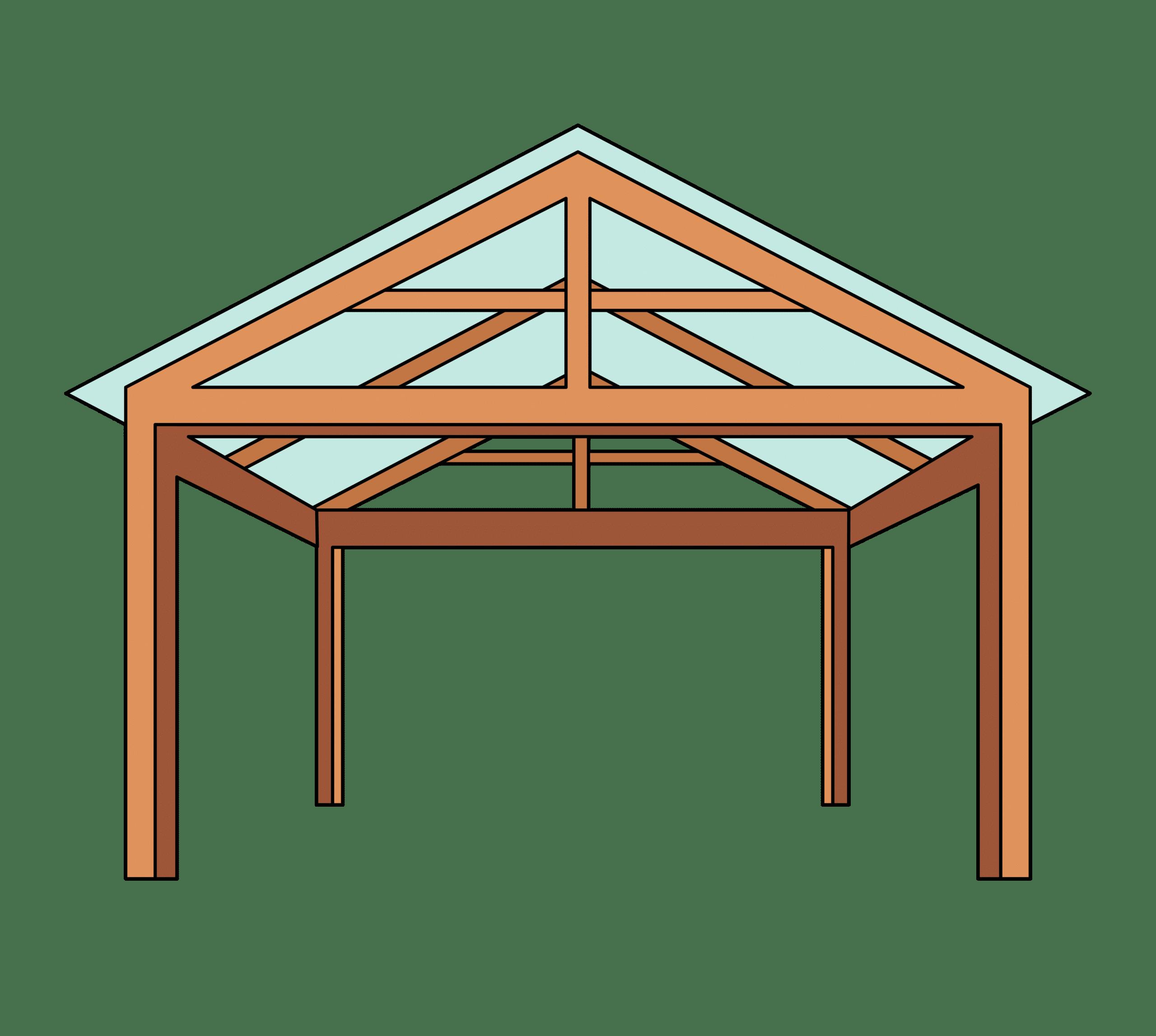 Gable roof pergola illustration